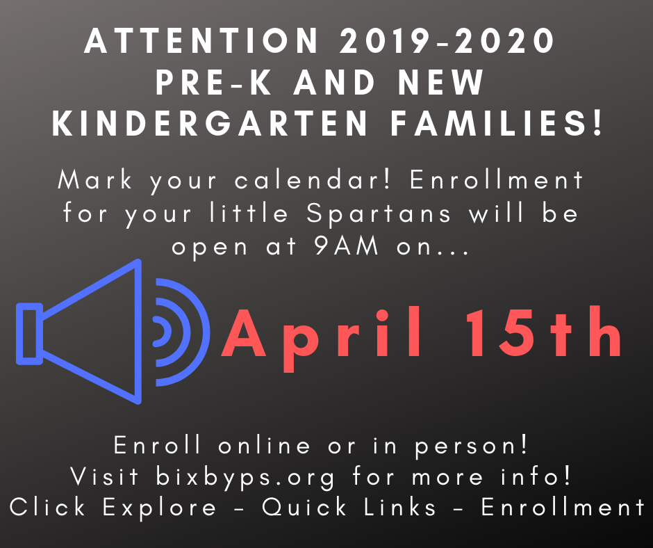 2019-2020 Pre-K & New Kindergarten Enrollment Opens April 15th!