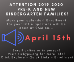 2019-2020 Pre-K New Kindergarten Enrollment Opens April 15th!