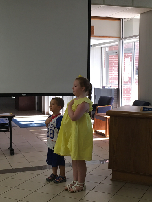 Kids leading Pledge
