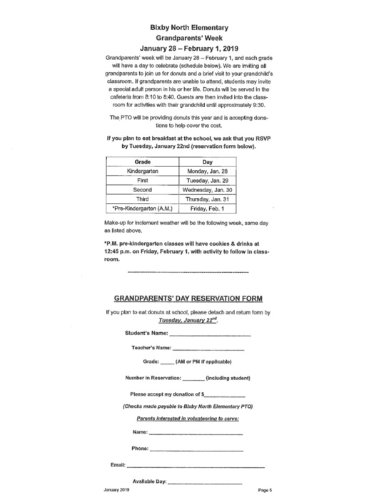 Grandparent Day Form