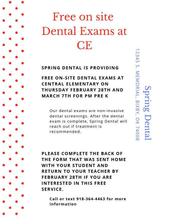 Free Dental Exams at Central Elementary