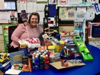 Mrs. Sumler and a Sparta Gala Silent Auction basket