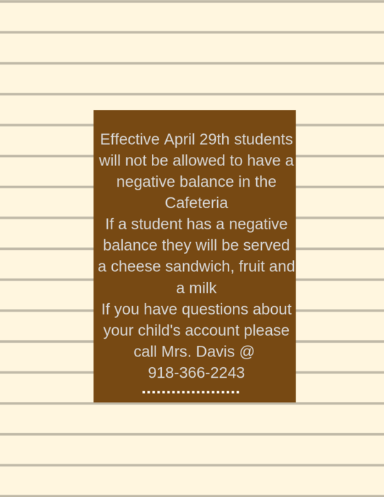 A message from the Cafeteria  As of April 29th, students will not be allowed to have a negative balance on their lunch accounts. Students will be served a cheese sandwich, fruit and a milk. If you have any questions, please call Mrs Davis @91-366-2243