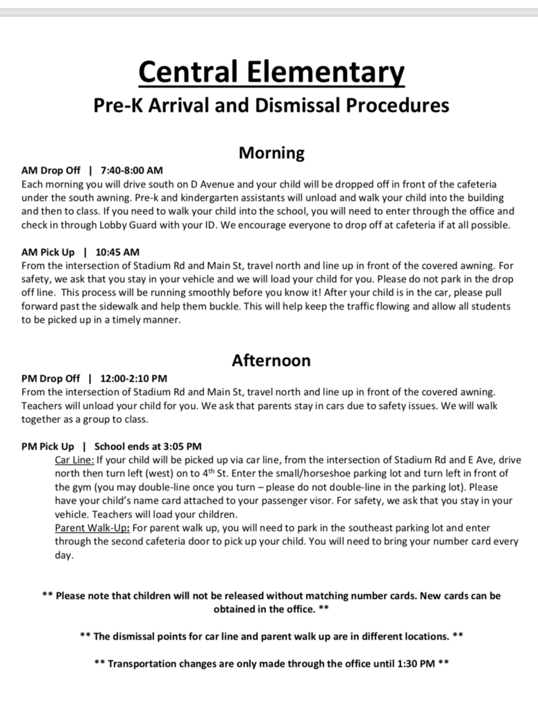 PreK Arrival and Drop off Procedures