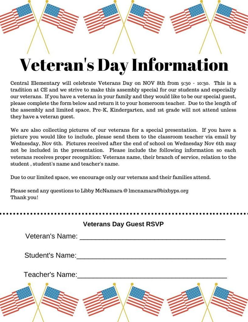 Veteran's Day Assembly Reminder