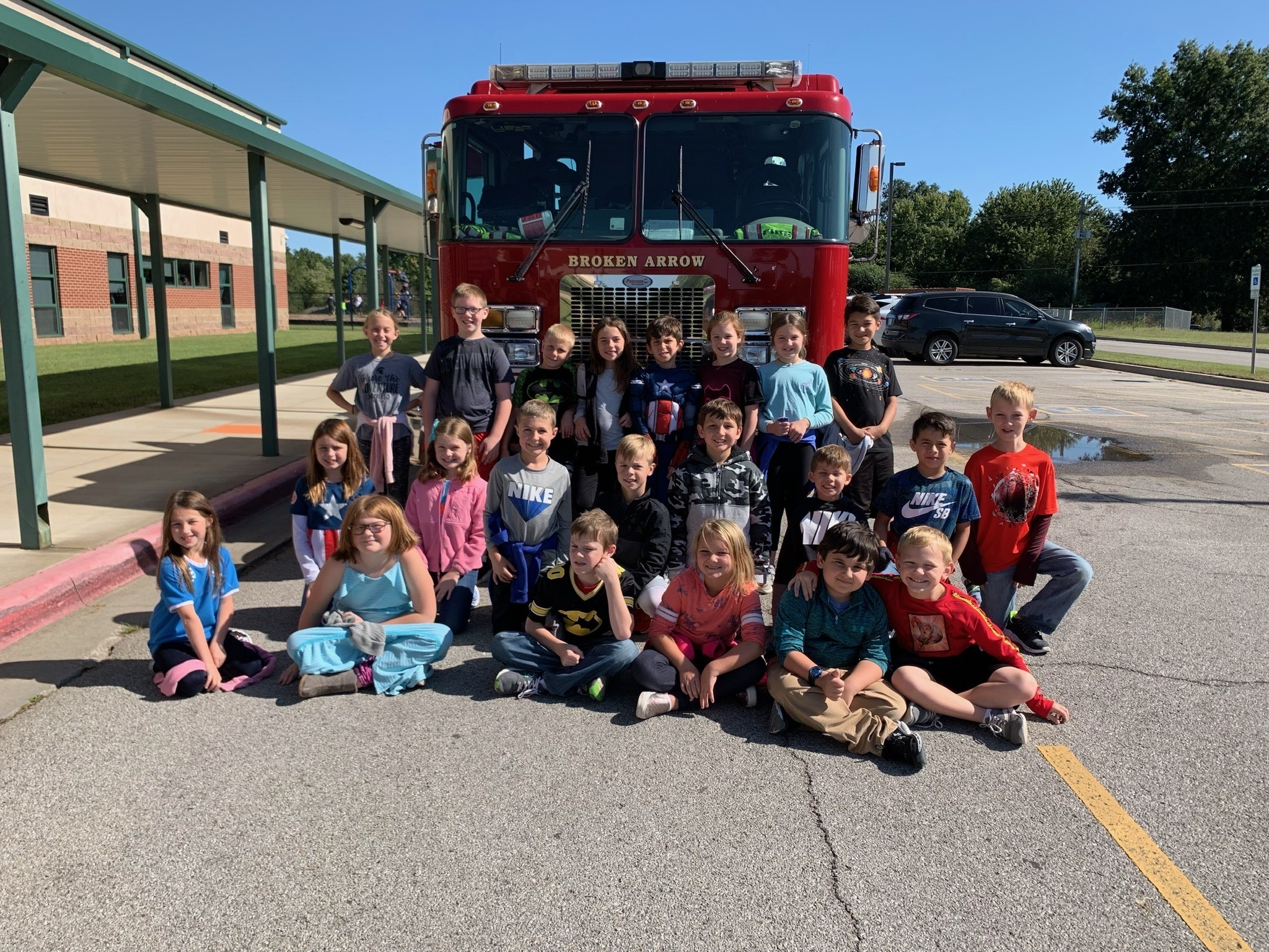 Mrs. Rodriguez's class enjoyed the presentation and exploring the fire truck!