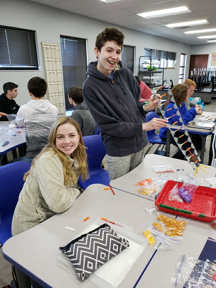 Pre-AP Biology engaged in using K'nex to learn DNA and RNA