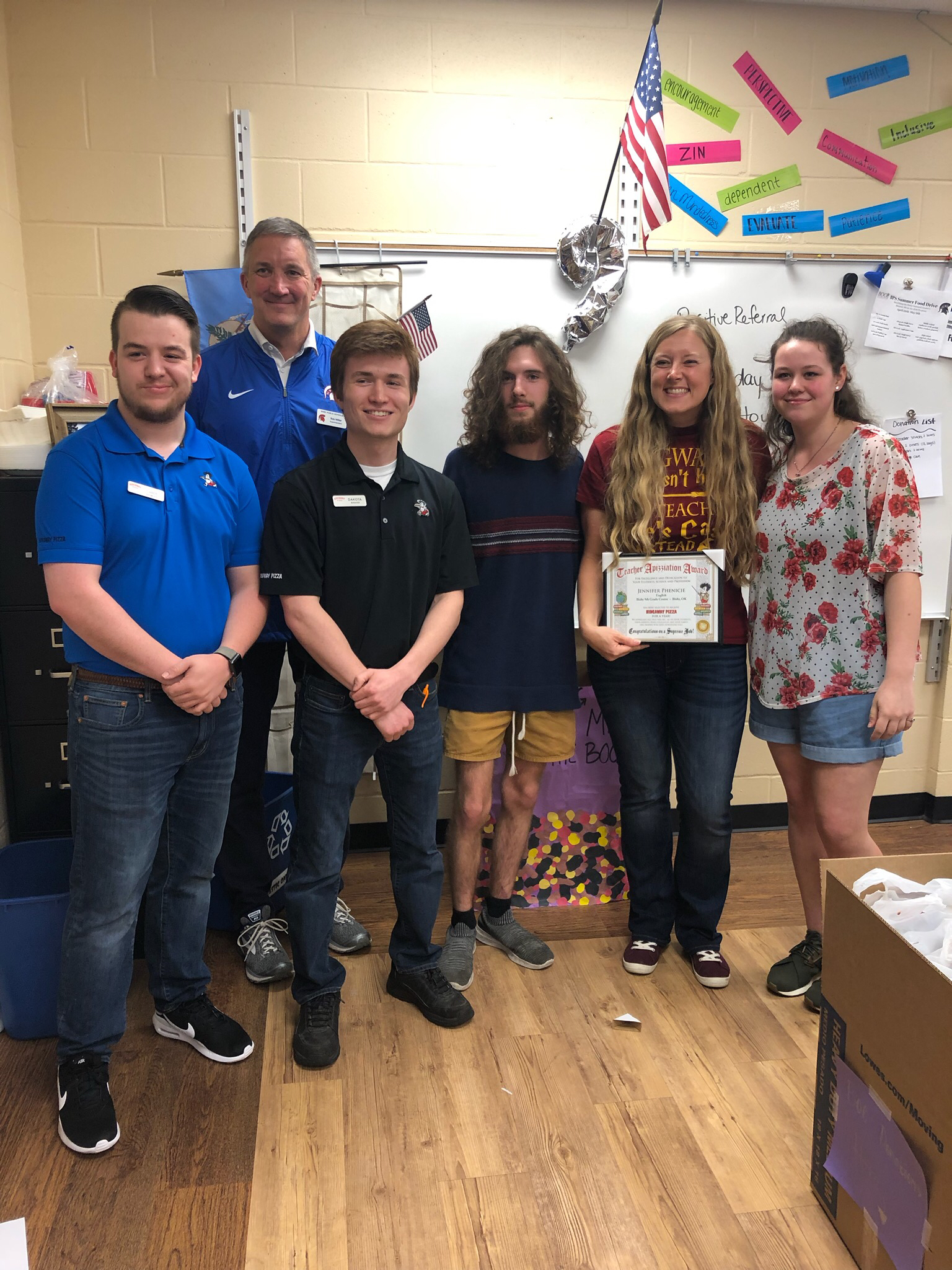 "Congratulations to Mrs. Phenicie for being nominated for Hideaway Pizza's ""Teacher Appizziation"" Award!"